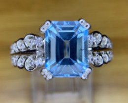 Natural Topaz Ring with CZ