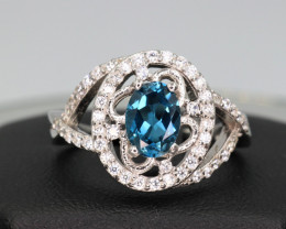 Attractive Natural London Topaz, CZ & 925 Fancy Sterling  Silver Ring