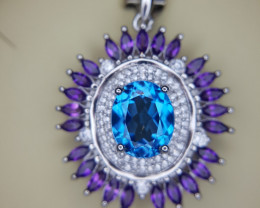 Natural Swiss Topaz and Amethyst Pendant