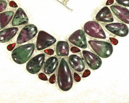 496.5 Tcw. Sterling Silver Ruby Zoisite Necklace - Gorgeous