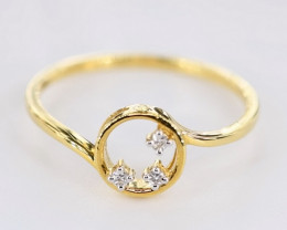 CROWN SHAPED DIAMONDS RING IN 18K GOLD -SIZE 7