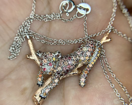 Leopard Natural Sapphire Necklace.
