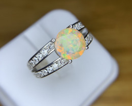 Natural faceted Opal rainbow fire Opal Ring.