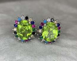 Natural Peridot Ear Studs with CZ