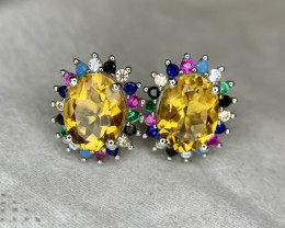 Natural Citrine Ear Studs with CZ.
