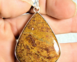 77.0 Tcw. Bronzite 9.25 Sterling Silver Pear Shaped Pendant - Stunning