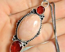 64.0 Tcw. Pink Opal / Garnet / 9.25 Sterling Silver Handmade Pendant - Eleg