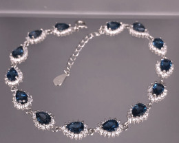 10.91 Grams Natural Blue London Topaz Bracelet  SKU : 14