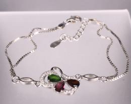 3.79 Gm Natural Multi Color Tourmaline Bracelet
