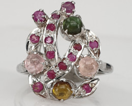 Natural Tourmaline ana glass filled Ruby Ring