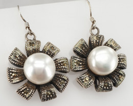 Natural Pearl and small Marcasite  Earrings
