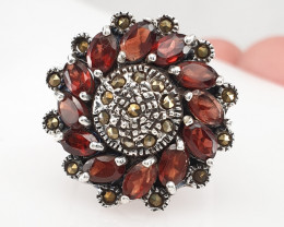 Natural Garnet and Small Marcasite Ring.