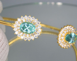 Attractive Natural Apatite, CZ & 925 Fancy Yellow Sterling  Silver Bangles
