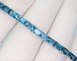 Natural London Blue Topaz  & 925 Fancy Sterling Silver Bracelet