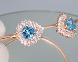 Gorgeous Natural Sky Blue Topaz, CZ & 925 Rose Gold Fancy Stylish Silver Ba