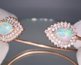 Attractive Natural Fire Opal, CZ &  Beautiful Fancy 925 Rose Gold Sterling