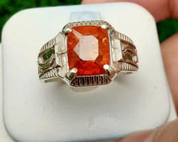Natural Spessartite Garnet 925 Silver Ring