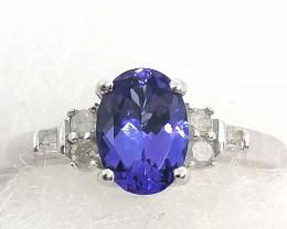 Premium Tanzanite and Diamond Ring 1.25tcw.