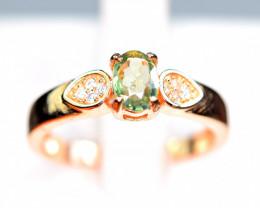 Natural Green beryllium Sapphire , CZ 925 Silver Gold Plating Ring
