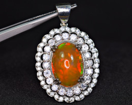 Natural Top Fire Opal with 60 Pis White Sapphire 925 Silver Pendant