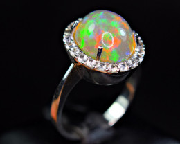 Natural Top Opal with 22Pis White Sapphire 925 Silver Ring