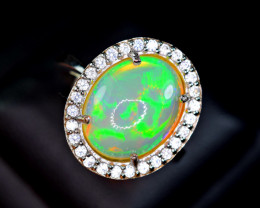 Natural Top Opal with 28Pis White Sapphire 925 Silver Ring