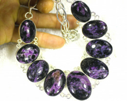 494.0 Tcw. Sterling Silver / Charoite Necklace - Gorgeous