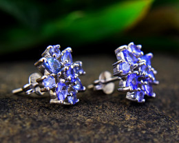 Genuine .925 Sterling Silver Tanzanite Earrings Pair