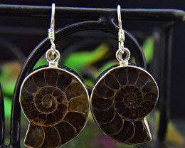 Genuine .925 Sterling Silver Ammonite Earrings Pair