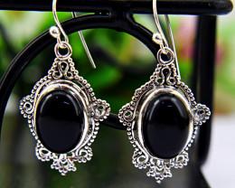 Genuine .925 Sterling Silver Onyx Earrings Pair