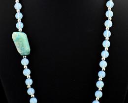 """Genuine Chalcedony & Amazonite  Beads Necklace of 24"""""""