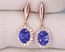 Attractive Natural Tanzanite, CZ & 925 Rose Gold Fancy Sterling Silver Earr