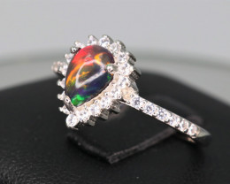 Gorgeous Natural Multi Fire Opal, CZ & 925 Stylish Sterling  Silver Ring