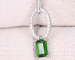 Beautiful Natural Chrome Diopside, CZ & 925 Fancy Sterling Silver Pendant