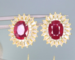 Attractive Natural Ruby, CZ & 925 Yellow  Fancy Sterling Silver Earring