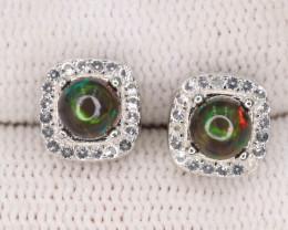 Fabulous Natural Fire Opal, CZ & 925 Sterling Silver Fancy Earring