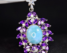 Natural 30 PisAmethyst , Larimar , CZ 925 Silver Very Worthy Top Pendant