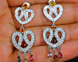 Natural 6PisMulti Color Stones ,CZ 925 Silver Heart Shape Earrings