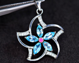 Natural Amazing 5 Pis Blue Apatite ,CZ 925 Silver top Pendant