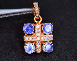 Natural 4 Pis Tanzanite , CZ 925 Silver Rose Gold Plating Beautiful Pendant