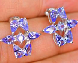 Natural 7Pis Tanzanite 925 Silver Nice Earrings