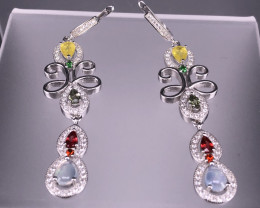 11.00 Gram Natural Multi Gemstone  Sapphire & Opal  Earrings   SKU : 69