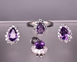 9.33 Gram Natural Amethyst Jewelry Set