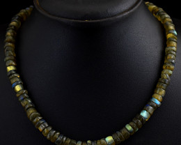 "Genuine Labradorite Beads Necklace Of 20"""