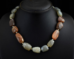 Genuine Faceted Moonstone Beads Necklace of 20