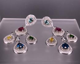12.98 Gm Natural Multi  Gemstone Earrings   SKU : 75