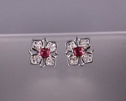 2.24 Gm Natural Glass Fill Ruby Earrings