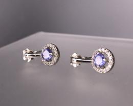 1.85 Gm 925 Silver Natural Tanzanite  Earrings