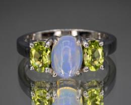Natural Opal and Green Peridot 16.25 Cts  Silver Ring