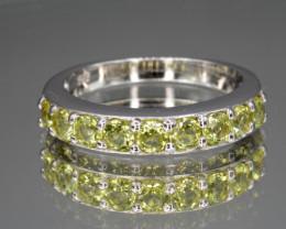 Natural Green Peridot 16.72 Cts  Silver Ring